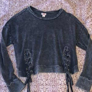 Mossimo Acid Wash Crewneck Lace Up Detail